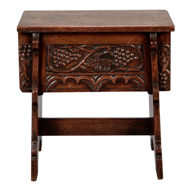 French Hand Carved Oak Stool with Grapes - Image 1 of 9