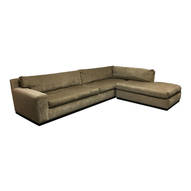 Cisco Furniture Green Velvet Two Piece Sectional - Image 1 of 11