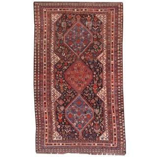 1880s Hand Made Antique Persian Khamseh Rug - 6' X 9'