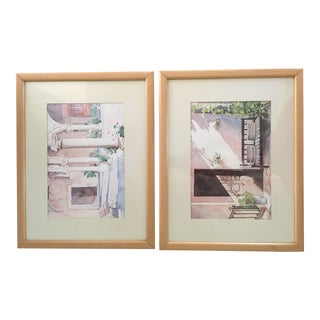 Spanish Patios Watercolor Paintings - A Pair