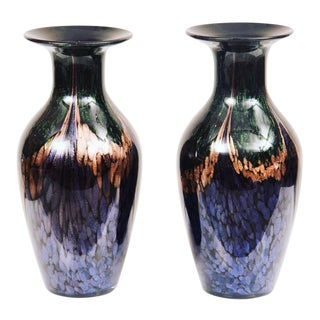 Murano Multi Colored Glass Vases- A Pair