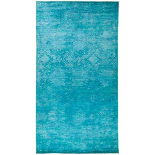 """Blue Over Dyed Hand Knotted Rug- 6' 1"""" x 12' 1"""""""