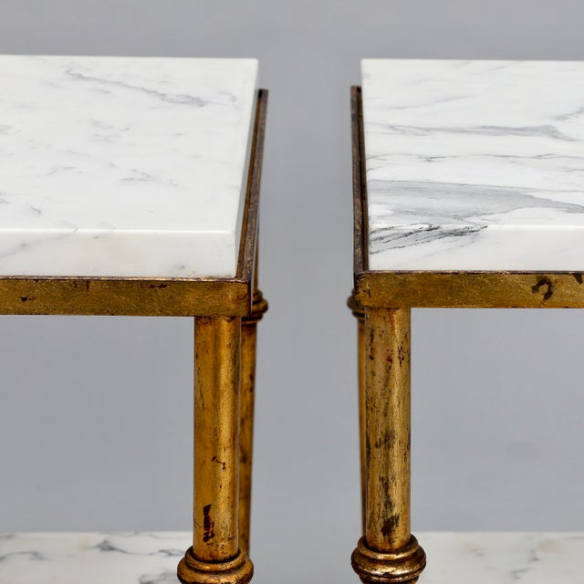 Pair of Spanish Gilt Metal and White Marble Side Tables - Image 4 of 11