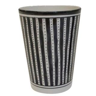 Black & White Striped Ceramic Vase