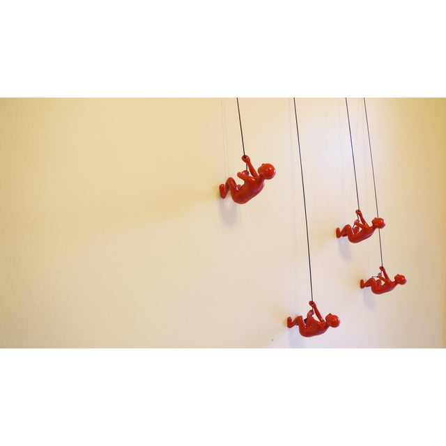 Red Position 3 Climbing Man Wall Art - Set of 4 - Image 4 of 6