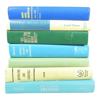 Blue and Green Vintage Book Stack - Set of 7
