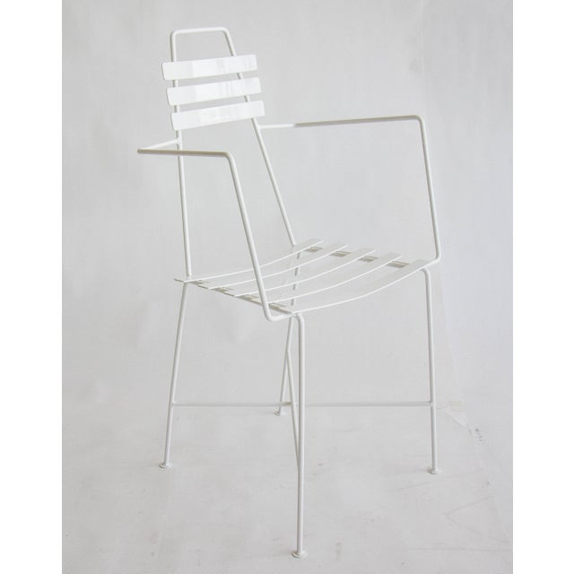 Mid-Century Slatted Wrought Iron Chair - Image 4 of 7