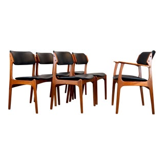"Erik Buch ""Floating Seat"" Danish Teak Dining Chairs - Set of 6"