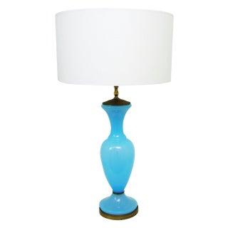Opaline Blue Murano Glass Lamp