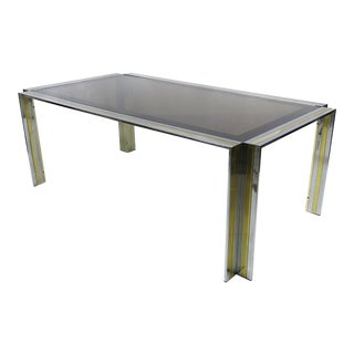 French 1970s Brass and Chrome Dining Table