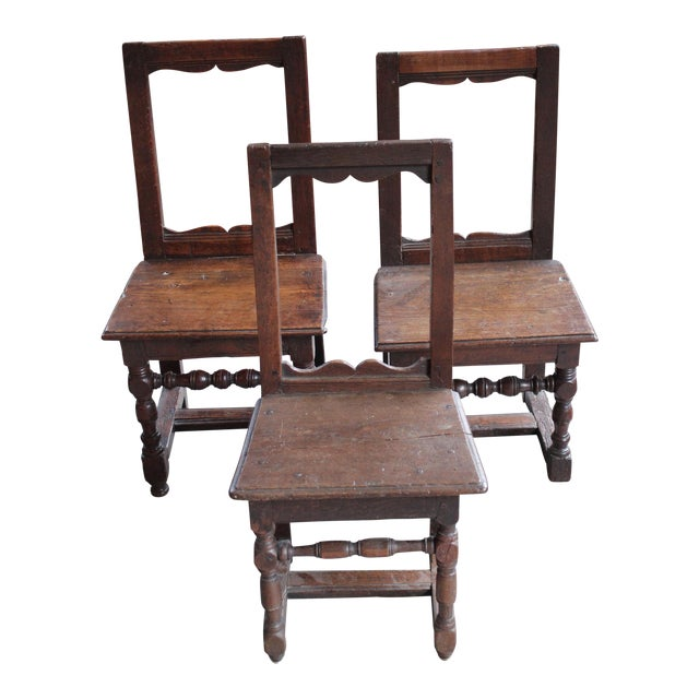 Antique Oak Nun's Chairs - Set of 3 - Image 1 of 10