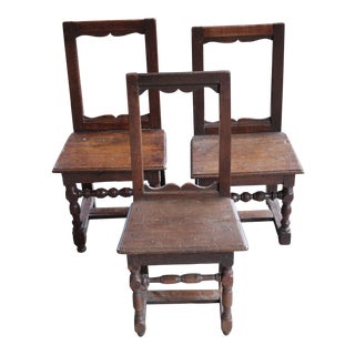 Antique Oak Nun's Chairs - Set of 3