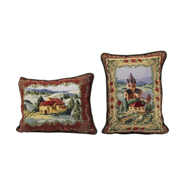 Image of Vintage Hand Stitched English Village Pillows