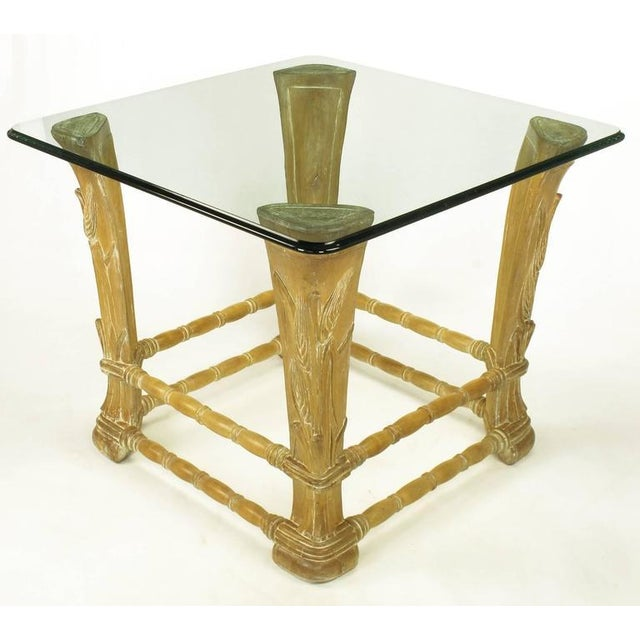 Limed Alder Center Table with Carved Wheat Relief and Glass Top - Image 5 of 10