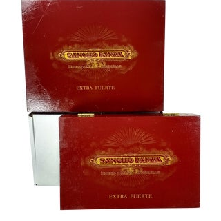 Red & Gold Sancho Panza Wood Cigar Boxes - Pair