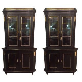 Pair of Fine Bronze-Mounted Maison Jansen Style Corner Cupboard/Display Cabinets