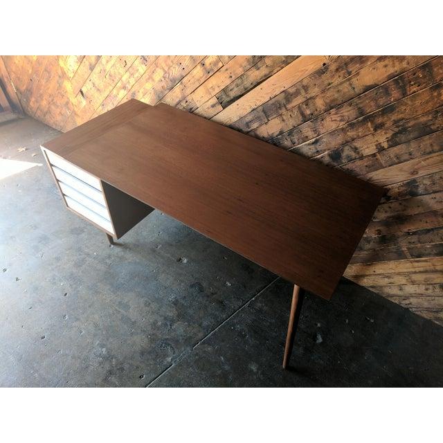 Custom Large Mid Century Style Walnut Desk - Image 5 of 11