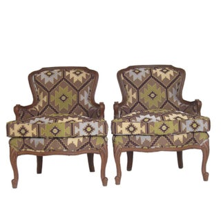 Vintage Tapestry Upholstery Bergeres - A Pair