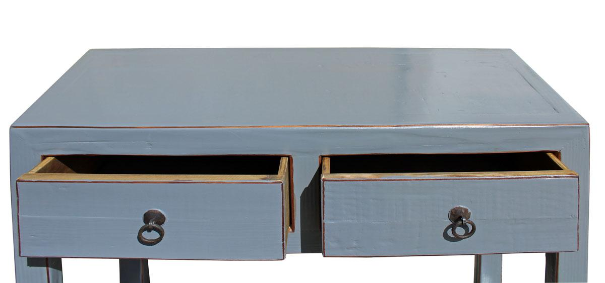 Chinese Gray Raw Wood Console Table   Image 5 Of 6