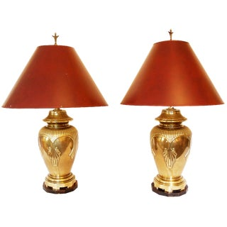 Heavy Brass Ginger Jar Lamps - A Pair