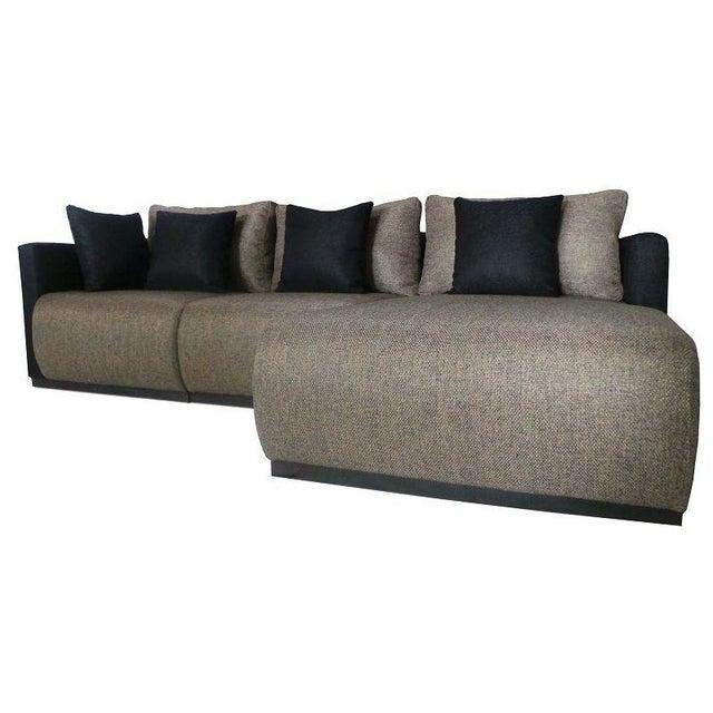 Black dymond 3 piece modular sectional sofa chairish for 3 piece modular sectional sofa