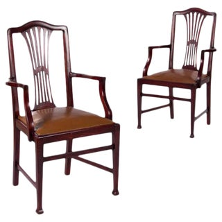 Lacour Freres French Mahogany Armchairs - A Pair