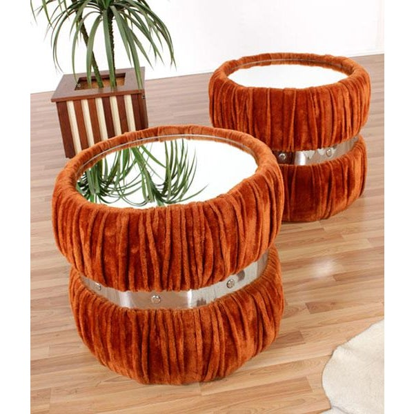Image of Vintage Fuzzy Orange Mirrored End Tables - Pair