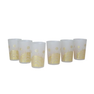 Gold Moroccan Tea Glasses - Set of 6