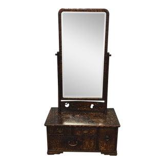 Antique Japanese Geisha Tansu Kyodai Vanity With Mirror