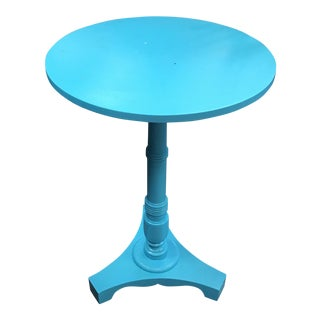 Aqua Blue Round Side Table