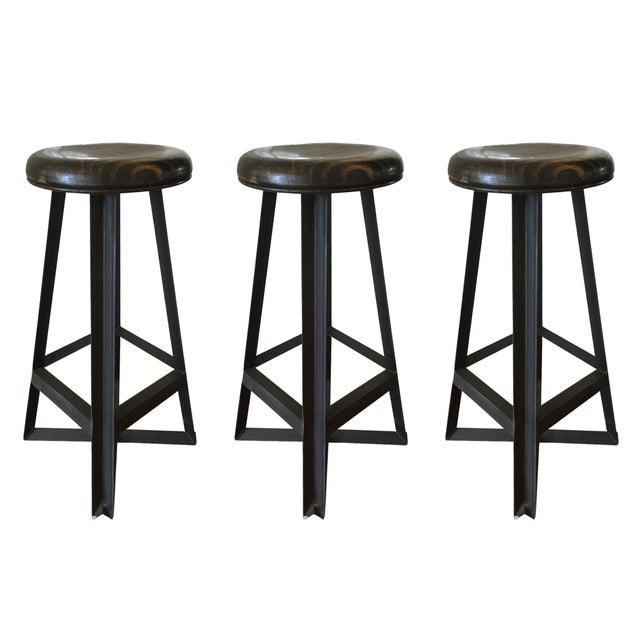Cleveland Art Industrial Loft Style Bar Stools - Set of 3 - Image 1 of 6