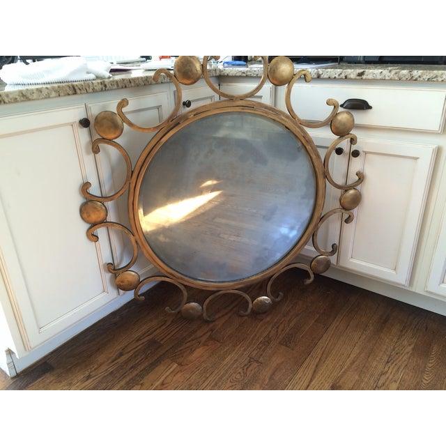 Image of Stunning Starburst Style Iron Gilded Mirror