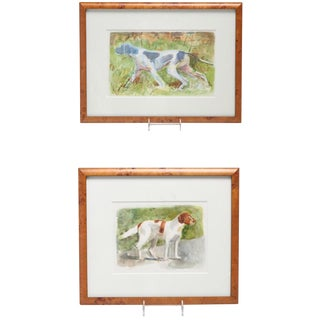 American Fox Hound Watercolors - A Pair