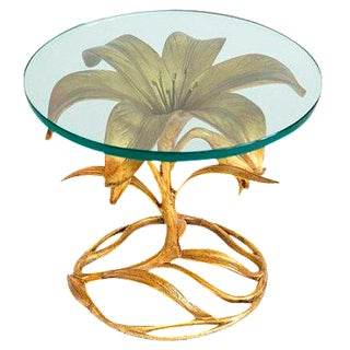 Arthur Court Gilded Lily Glass Top Table