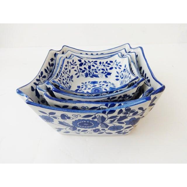 Nesting Blue & White Bowls - Set of 4 - Image 2 of 6