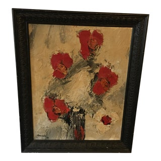 Abstract Floral Still Life Vintage Oil Painting