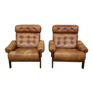 Vintage Swedish Leather Armchairs - a Pair