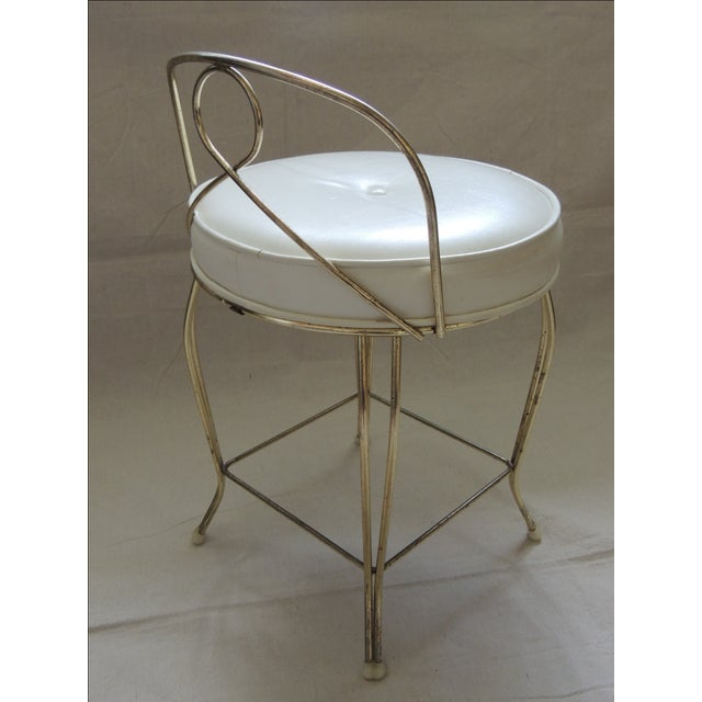 Image of Vintage Round Brass Upholstered Vanity Stool