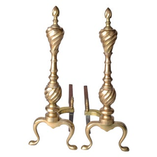 Solid Brass Andirons- A Pair