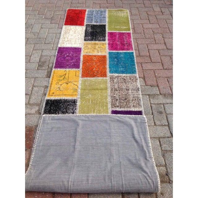 "Multicolor Turkish Runner Rug, 2' 7"" x 9' 2"" - Image 6 of 6"