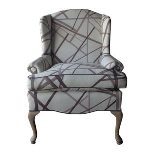 Vintage Wingback Chair in Kelly Wearstler Fabric