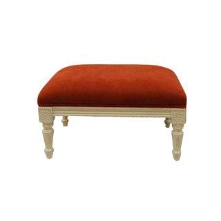 Upholstered Orange & White Ottoman