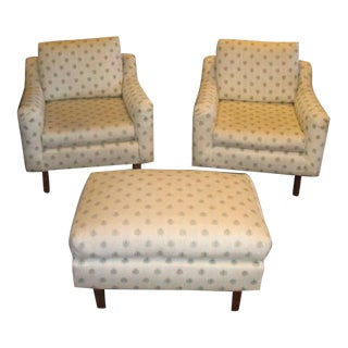 Mid-Century Club Chairs & Ottoman - Set of 3