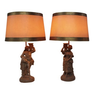 """Borghese"" Terracotta Finish Lamps - a Pair"