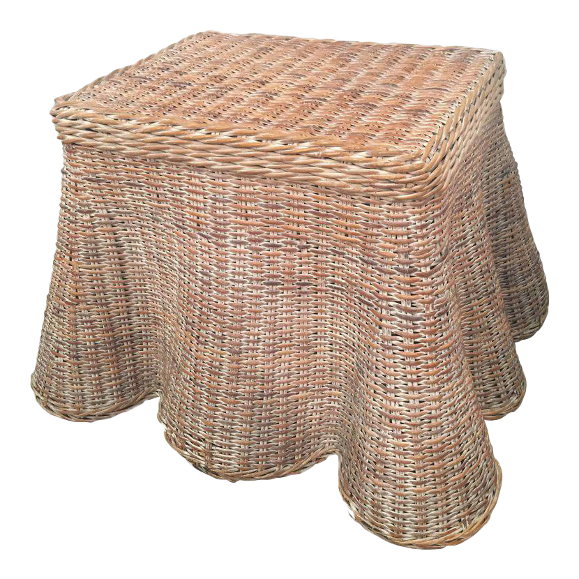 Amazing Vintage Draped Wicker Side Table Coffee Cocktail