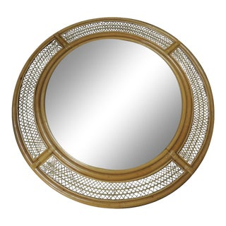 Vintage Monumental Bamboo and Wicker Mirror
