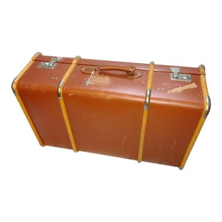 Vintage Plantation Suitcase With Wooden Slats