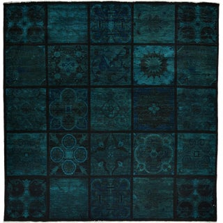 """Turquoise Overdyed Hand Knotted Area Rug - 8'6"""" X 8'9"""""""
