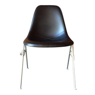 Vintage Eames Stacking Black Naugahyde Shell Chair