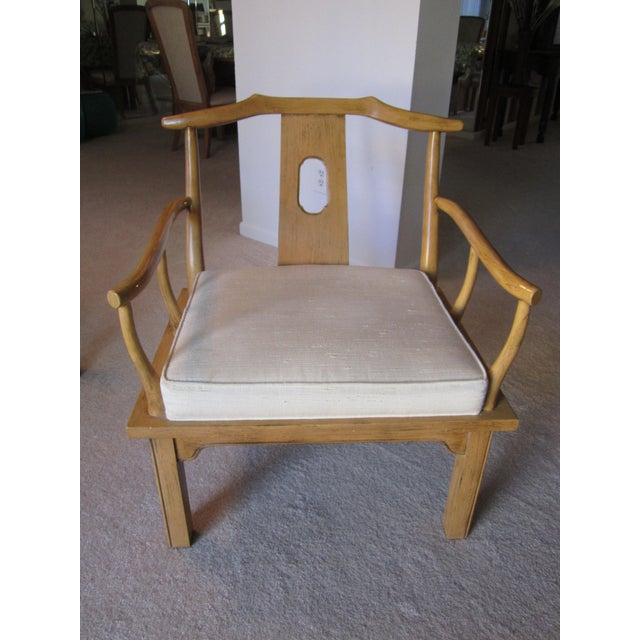Vintage Chinese Chippendale Style Chinoiserie Blonde Wood Chair - Image 10 of 11
